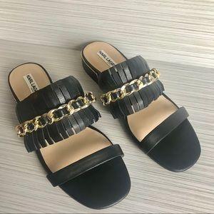 Karl Lagerfeld Paris Sandals w/ Fringe & Chain 8M